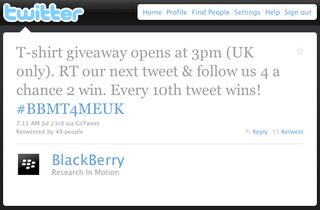 BlackBerry Announces Twitter T-Shirt Giveaway