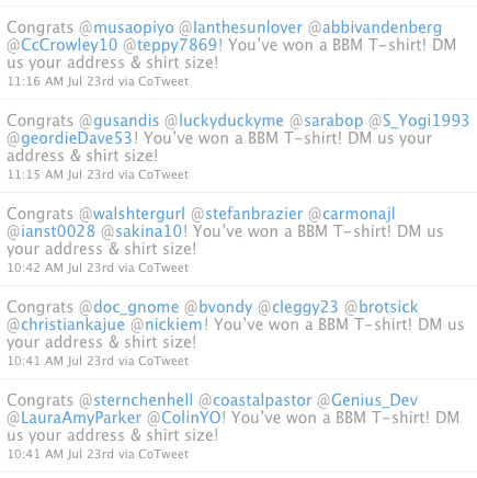 BlackBerry Announcing Twitter T-Shirt Giveaway Winners