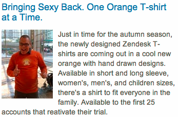 Zendesk Tshirt Call to Action