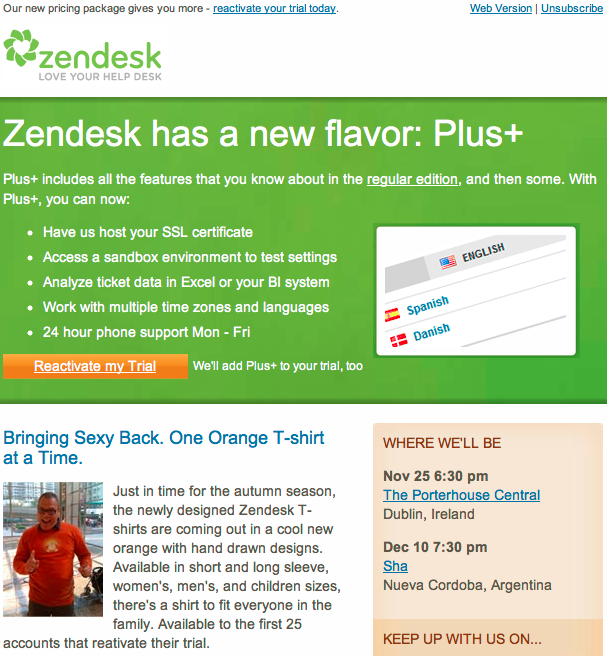 Zendesk Trial Reactivation Email Screenshot
