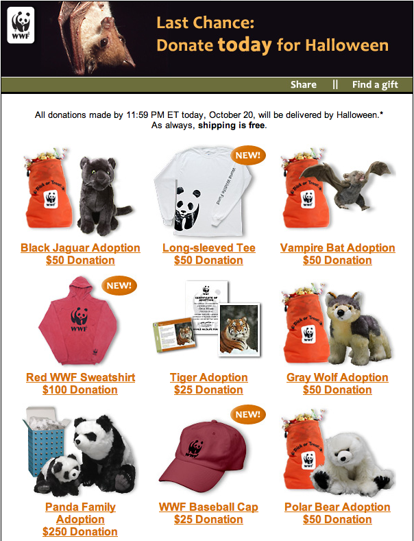 World Wildlife Fund's Thank-You Gifts for Making a Donation